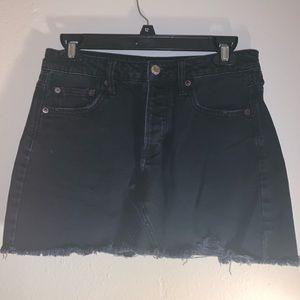 American Eagle Black Jean Skirt Distressed Look